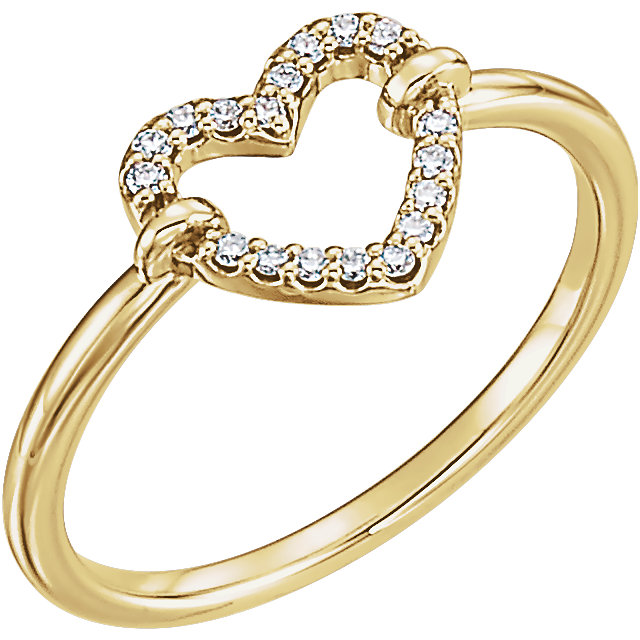 Shop 14 KT Yellow Gold .08 Carat TW Diamond Heart Ring