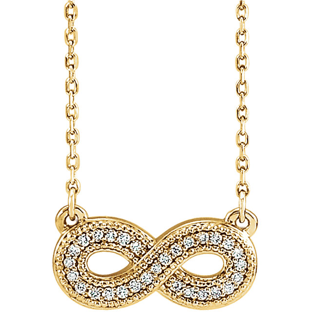 Shop Real 14 KT Yellow Gold .08 Carat TW Diamond Infinity-Inspired 16-18