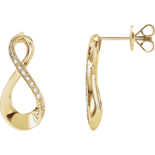 Low Price on Quality 14 KT Yellow Gold .08 Carat TW Diamond Infinity-Inspired Earrings