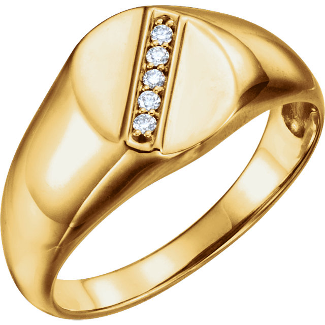 Genuine 14 KT Yellow Gold .08 Carat TW Diamond Men's Oval Signet Ring
