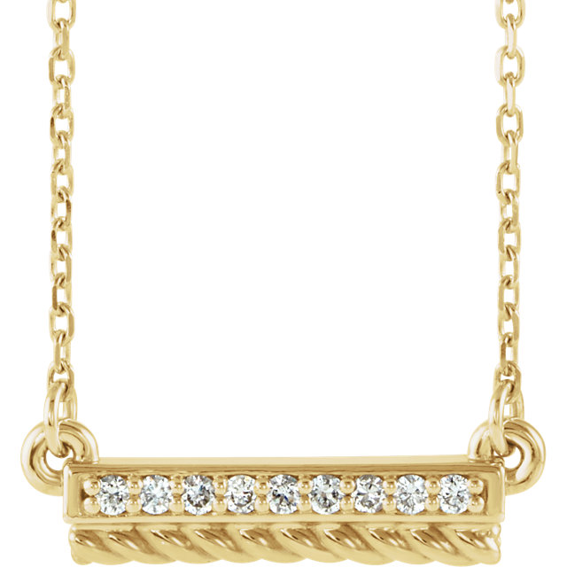 Easy Gift in 14 Karat Yellow Gold .08 Carat Total Weight Diamond Rope Bar 16-18