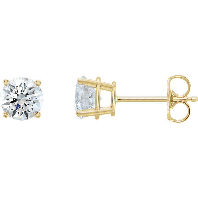 Contemporary 14 Karat Yellow Gold 0.50 Carat Total Weight Lab-Grown Diamond Stud Earrings