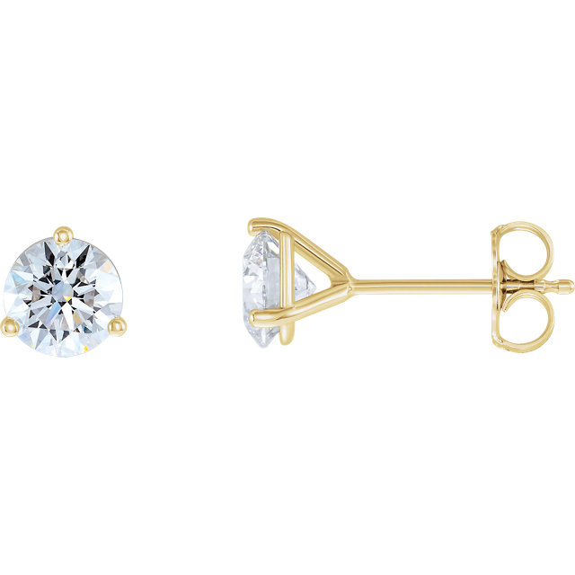 Easy Gift in 14 Karat Yellow Gold 0.50 Carat Total Weight Lab-Grown Diamond Stud Earrings