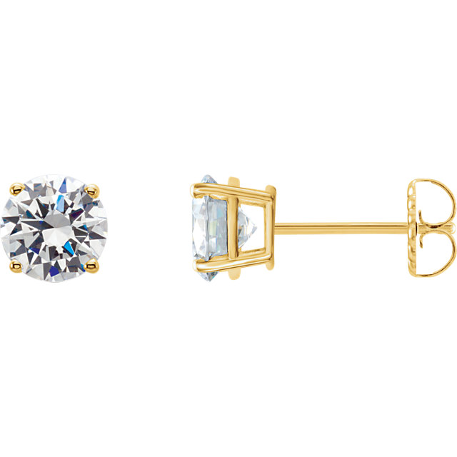 Fine Quality 14 Karat Yellow Gold 0.25 Carat Total Weight Lab-Grown Diamond Stud Earrings