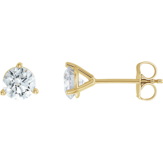 Perfect Gift Idea in 14 Karat Yellow Gold 0.25 Carat Total Weight Lab-Grown Diamond Stud Earrings