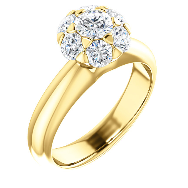 Great Gift in 14 Karat Yellow Gold 0.20 Carat Total Weight Diamond Cluster Engagement Ring