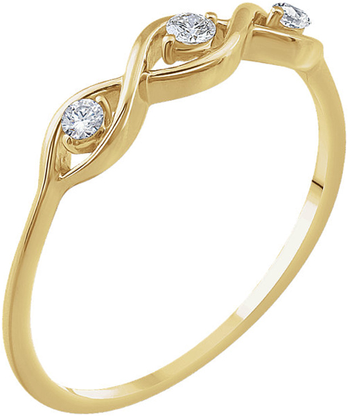 14 KT Yellow Gold 1/10 Carat TW Diamond 3-Stone Ring