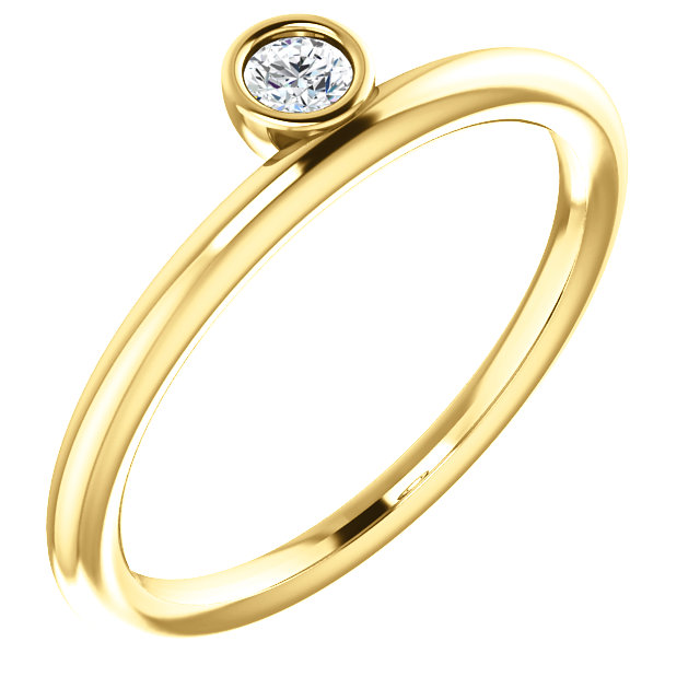 Quality 14 KT Yellow Gold 0.10 Carat TW Diamond Asymmetrical Stackable Ring
