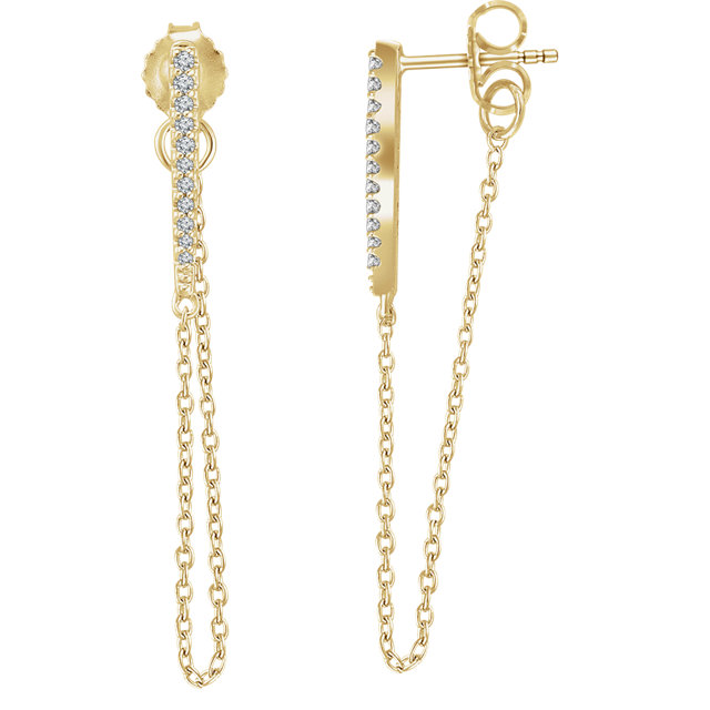 Wonderful 14 Karat Yellow Gold 0.10 Carat Total Weight Diamond Chain Earrings