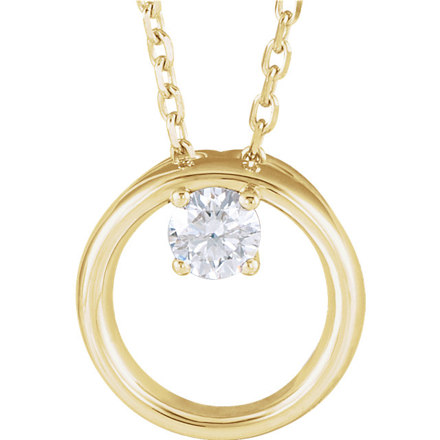 Perfect Jewelry Gift 14 Karat Yellow Gold 0.10 Carat Total Weight Diamond Circle 16-18