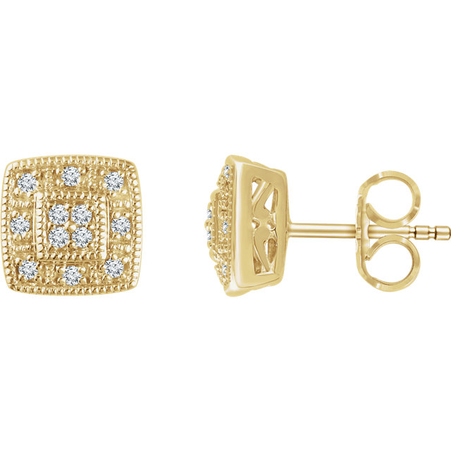 Surprise Her with  14 Karat Yellow Gold 0.10 Carat Total Weight Diamond Cluster Earrings