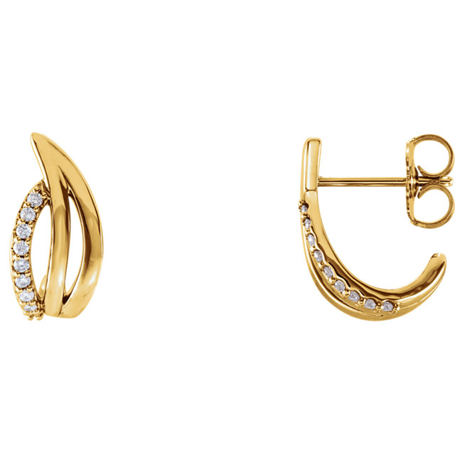 Perfect Gift Idea in 14 Karat Yellow Gold 0.10 Carat Total Weight Diamond Freeform J-Hoop Earrings