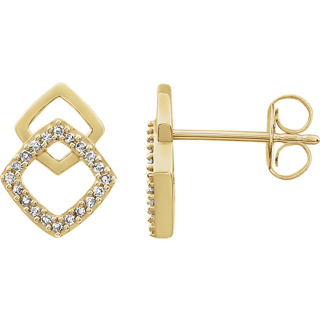 Great Deal in 14 Karat Yellow Gold 0.10 Carat Total Weight Diamond Geometric Earrings