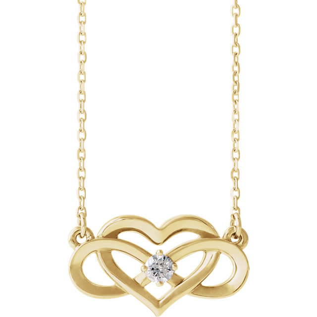 Great Gift in 14 Karat Yellow Gold 0.10 Carat Total Weight Diamond Infinity-Inspired Heart 16-18