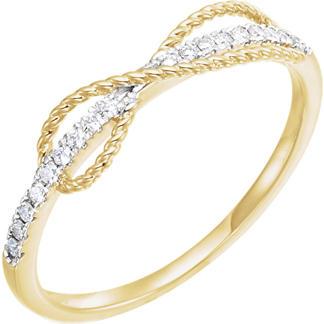Shop Real 14 KT Yellow Gold 0.10 Carat TW Diamond Infinity-Inspired Ring