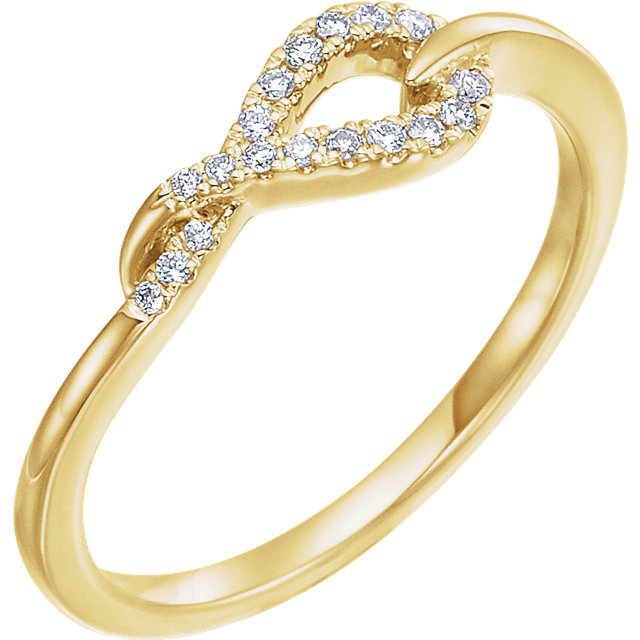Deal on 14 KT Yellow Gold 0.10 Carat TW Diamond Knot Ring