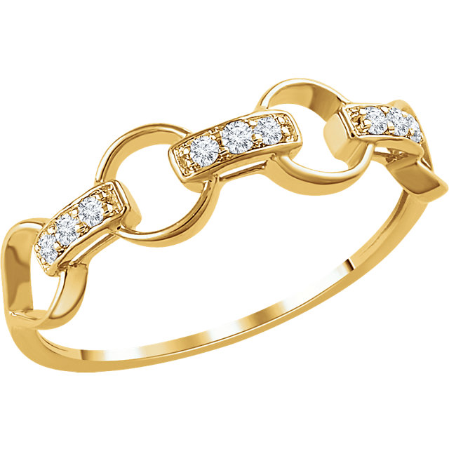Buy Real 14 KT Yellow Gold 0.10 Carat TW Diamond Link Ring