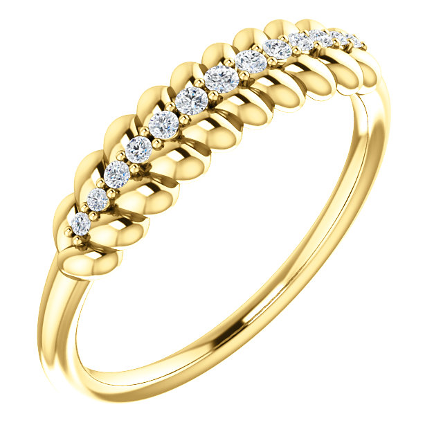 Great Buy in 14 KT Yellow Gold 0.10 Carat TW Diamond  Rope Ring