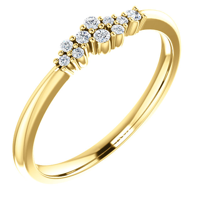 Gorgeous 14 Karat Yellow Gold 0.10 Carat Total Weight Diamond Stackable Cluster Ring