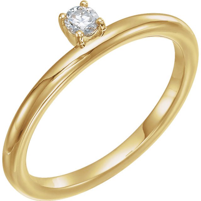 14 Karat Yellow Gold 0.10 Carat Diamond Stackable Ring
