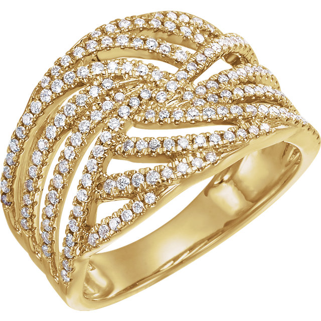 14 KT Yellow Gold 0.50 Carat TW Diamond Accented Criss-Cross Ring