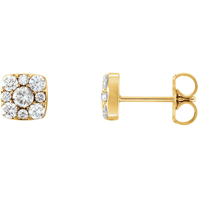 Shop Real 14 KT Yellow Gold 0.50 Carat TW Diamond Cluster Earrings