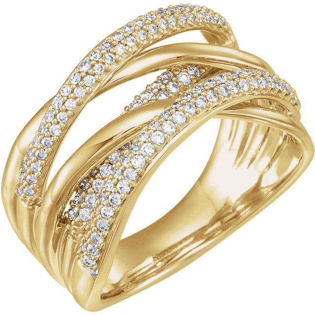 Perfect Gift Idea in 14 Karat Yellow Gold 0.50 Carat Total Weight Diamond Criss-Cross Ring