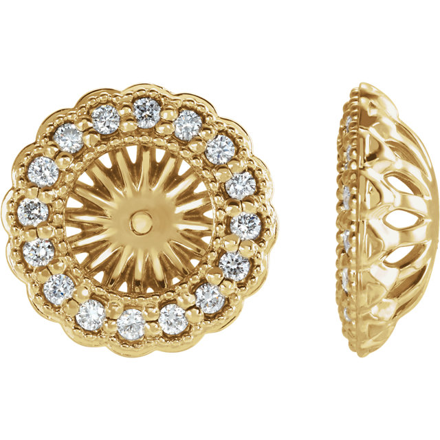 Contemporary 14 Karat Yellow Gold 0.50 Carat Total Weight Diamond Earring Jackets