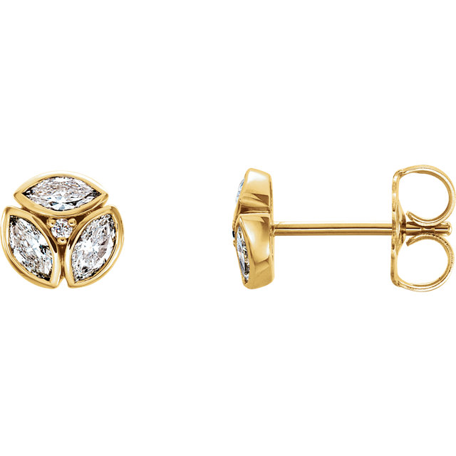 Remarkable 14 Karat Yellow Gold 0.50 Carat Total Weight Marquise Genuine Diamond Earrings