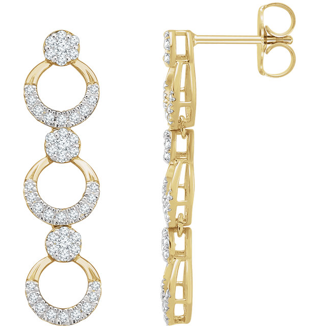 Surprise Her with  14 Karat Yellow Gold 0.50 Carat Total Weight Diamond Geometric Dangle Earrings
