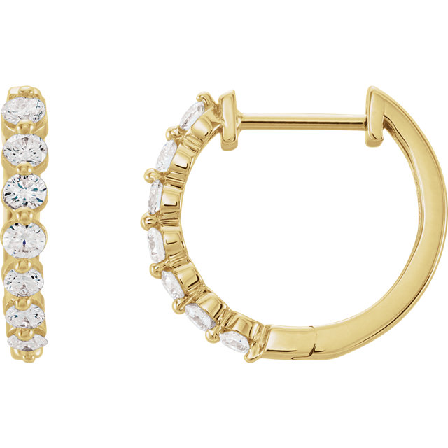 Perfect Gift Idea in 14 Karat Yellow Gold 0.50 Carat Total Weight Diamond Hoop Earrings