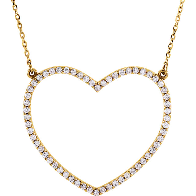 Great Buy in 14 KT Yellow Gold 0.50 Carat TW Diamond Large Heart 16