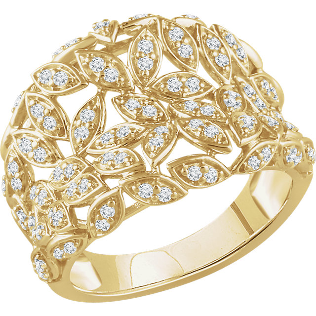 Jewelry Find 14 KT Yellow Gold 0.50 Carat TW Diamond Leaf Ring