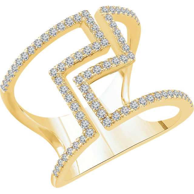 Gorgeous 14 Karat Yellow Gold 0.50 Carat Total Weight Diamond Negative Space Ring