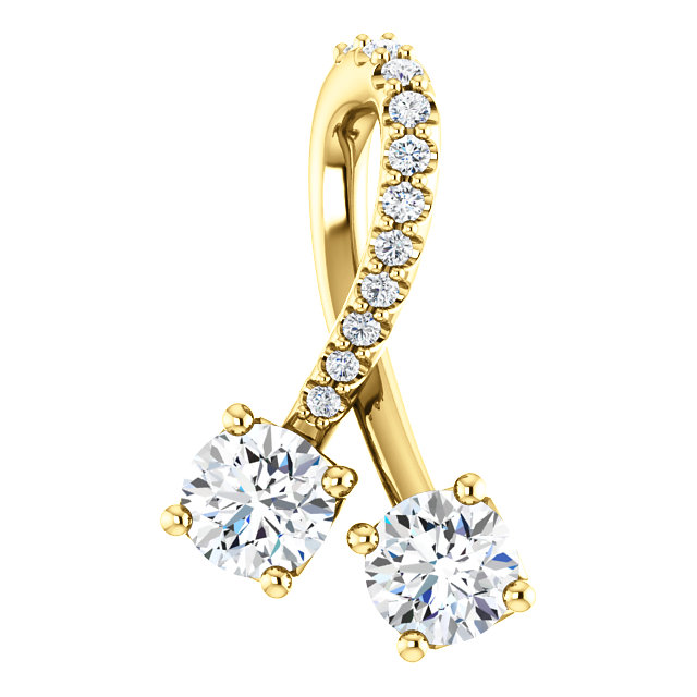 Must See 14 Karat Yellow Gold 0.50 Carat Total Weight Diamond Pendant