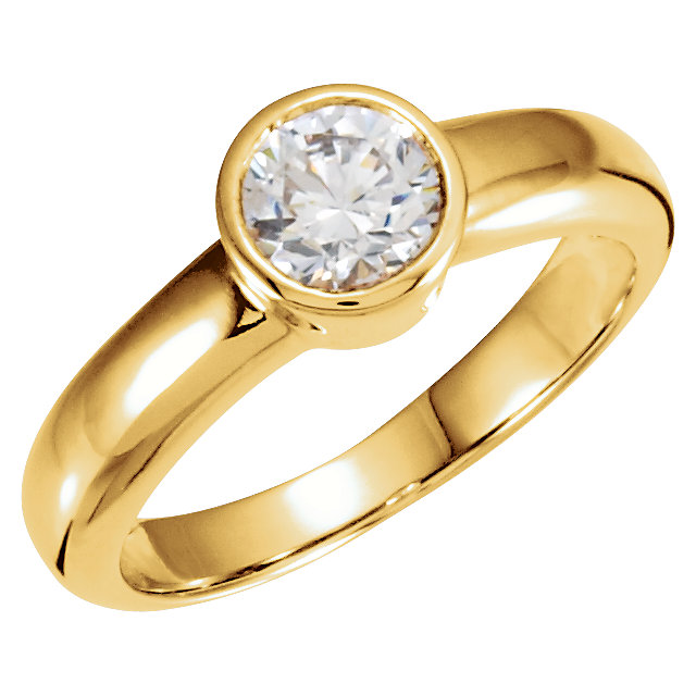 Diamond Ring in 14 Karat Yellow Gold 0.50 Carat Diamond Round Solitaire Engagement Ring
