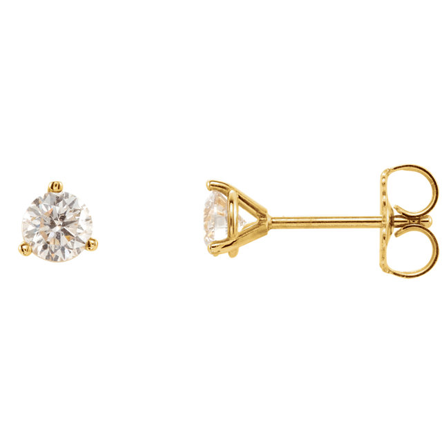 Eye Catchy 14 Karat Yellow Gold 0.50 Carat Diamond Stud Earrings