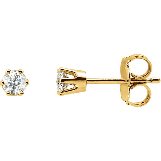 Appealing Jewelry in 14 Karat Yellow Gold 0.50 Carat Total Weight Diamond Threaded Post Stud Earrings