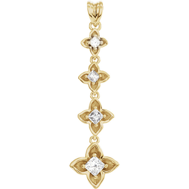 Quality 14 KT Yellow Gold  0.50 Carat TW Journey Diamond Linked Floral-Inspired Pendant