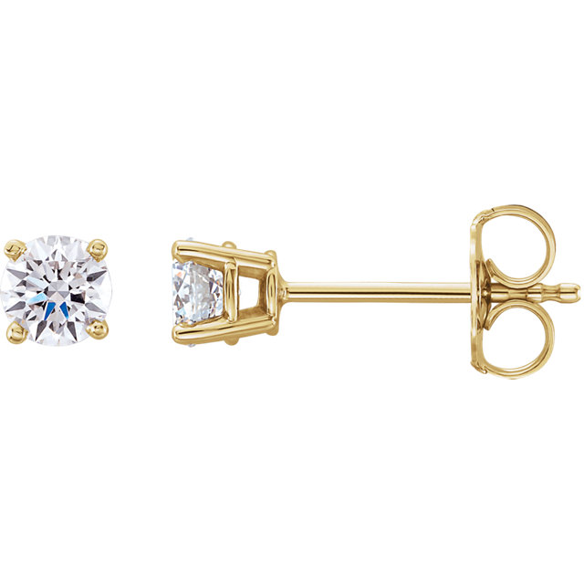 Wonderful 14 Karat Yellow Gold 0.50 Carat Total Weight Lab-Grown Diamond Stud Earrings