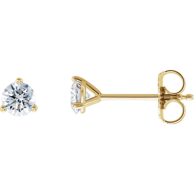 Great Buy in 14 Karat Yellow Gold 0.50 Carat Total Weight Lab-Grown Diamond Stud Earrings