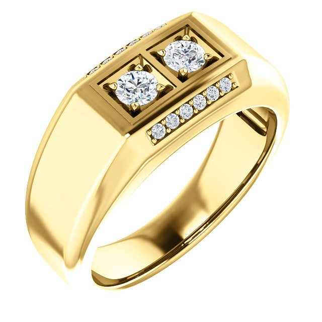 Jewelry Find 14 KT Yellow Gold 0.50 Carat TW Men's Diamond Ring