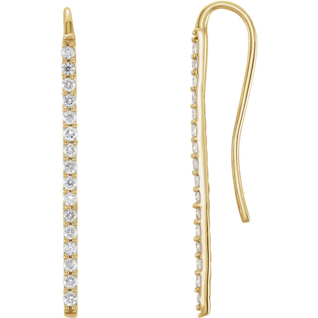 Must See 14 Karat Yellow Gold 0.33 Carat Total Weight Diamond Bar Earrings
