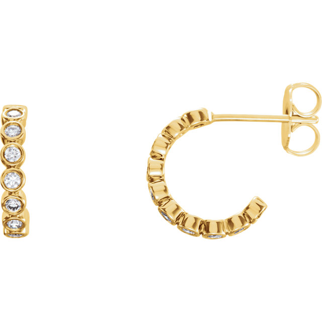 Great Deal in 14 Karat Yellow Gold 0.25 Carat Total Weight Diamond Bezel-Set J-Hoop Earrings