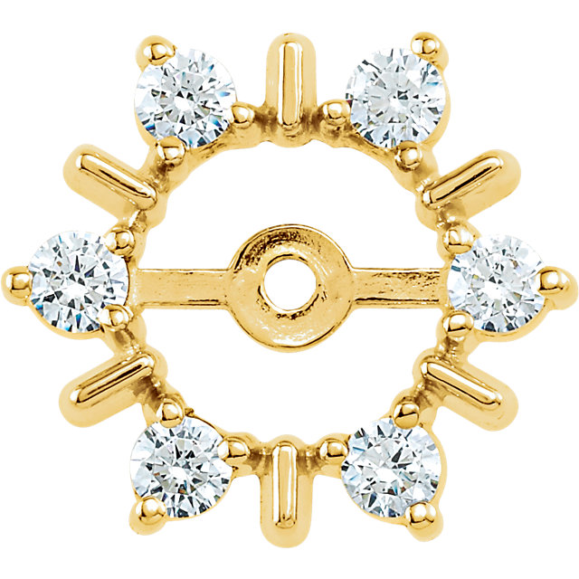 Surprise Her with  14 Karat Yellow Gold 0.33 Carat Total Weight Diamond Earring Jackets