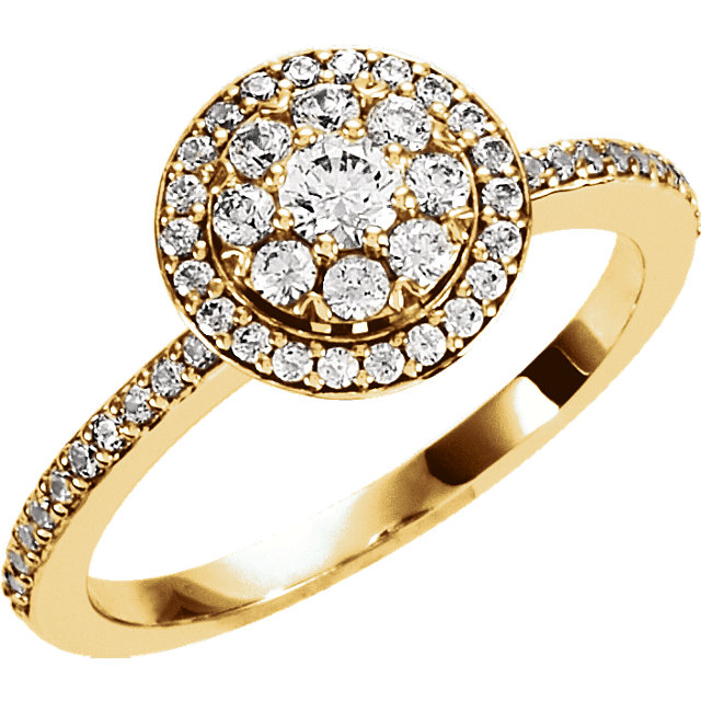 14 KT Yellow Gold 0.33 Carat TW Diamond Halo-style Cluster Engagement Ring