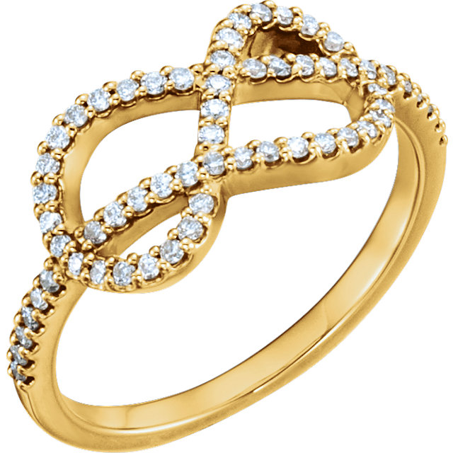 Genuine 14 KT Yellow Gold 0.33 Carat TW Diamond Knot Ring