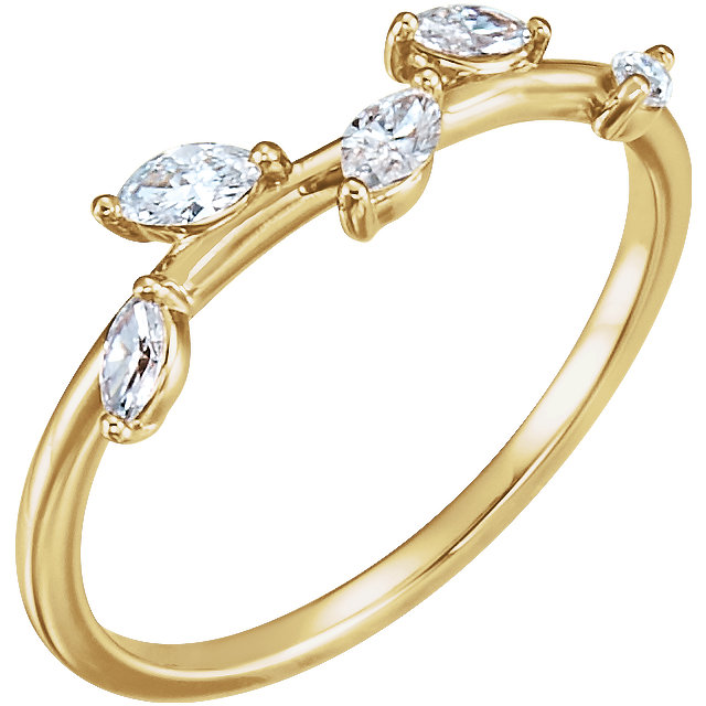 Deal on 14 KT Yellow Gold 0.33 Carat TW Diamond Leaf Ring