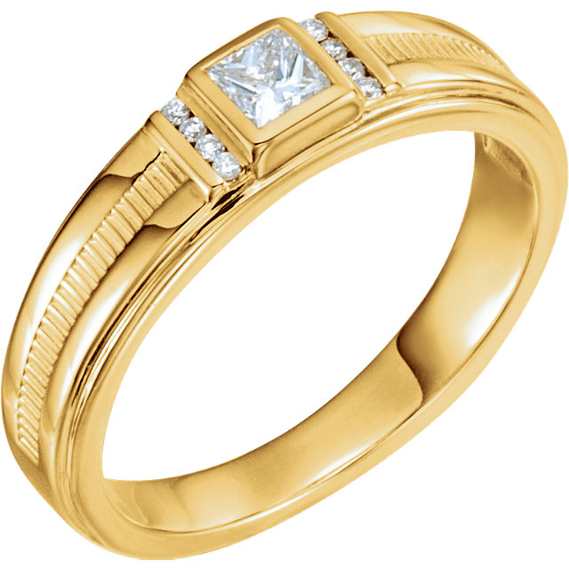 Buy Real 14 KT Yellow Gold 0.33 Carat TW Diamond Men's Ring