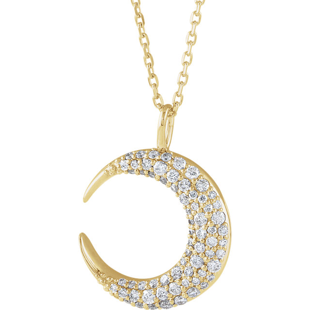 Buy 14 Karat Yellow Gold 0.33 Carat Diamond Crescent Moon 16-18